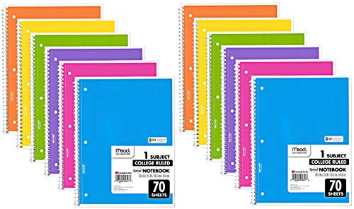 Mead Spiral Notebook, 12 Pack of 1-Subject College Ruled Spiral Bound Notebooks, Cute school Notebooks Pantone Colors, 70 ()