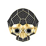RUDRAFASHION Men's & Women's 14K Yellow Gold Plated 3.80 ctw Black CZ Diamond Half Jaw Skull Ring
