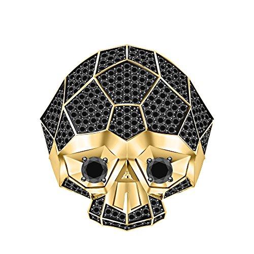 RUDRAFASHION Men's & Women's 14K Yellow Gold Plated 3.80 ctw Black CZ Diamond Half Jaw Skull Ring by RUDRAFASHION