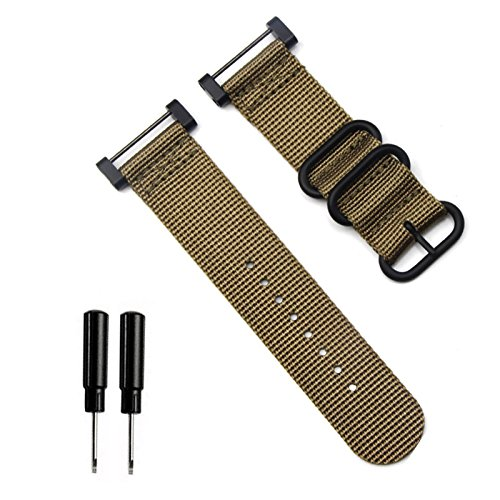 Feicuan Nylon Watch strap 24mm NATO Watch Band 2 Pieces Strap Replacement Wristband for Suunto Core (with Removal Tool) Khaki