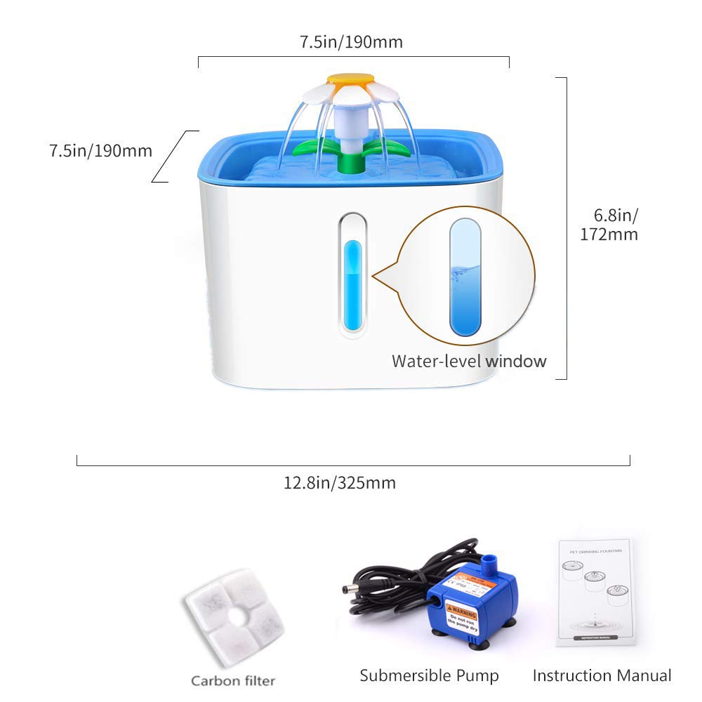JFUNE Cat Water Fountain with Water Level Window,Pet Drinking Fountain For Dogs,2.4L Automatic 3 Modes Drinking Pet Fountain Dispenser with 1 Replacement Filters
