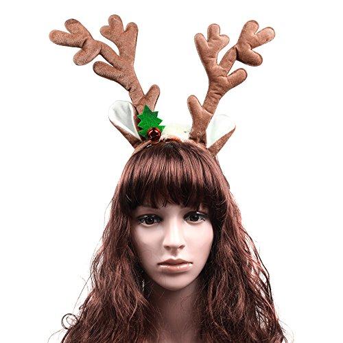 [ThyWay Cute Reindeer Antlers Headband Hair Hoop Christmas and Easter Party Headbands (Brown with] (Snowman Halloween Costumes)
