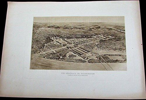 Washington D.C. panoramic birds-eye view c.1910? scarce interesting old print Panoramic Birdseye Map