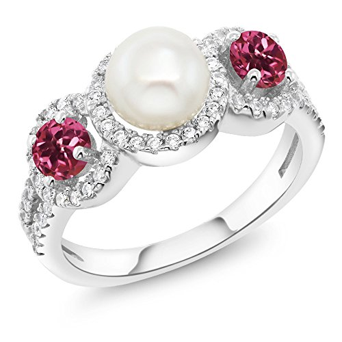- Gem Stone King 1.28 Ct Round Cultured Freshwater Pearl Pink Tourmaline 925 Sterling Silver Ring (Size 9)