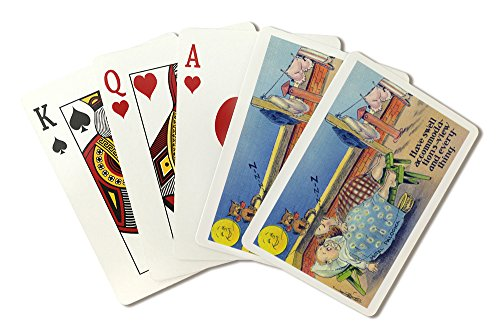 Comical Cartoon - Couple Sleeping on the Roof, Swell View of a Clothes Line (Playing Card Deck - 52 Card Poker Size with Jokers)