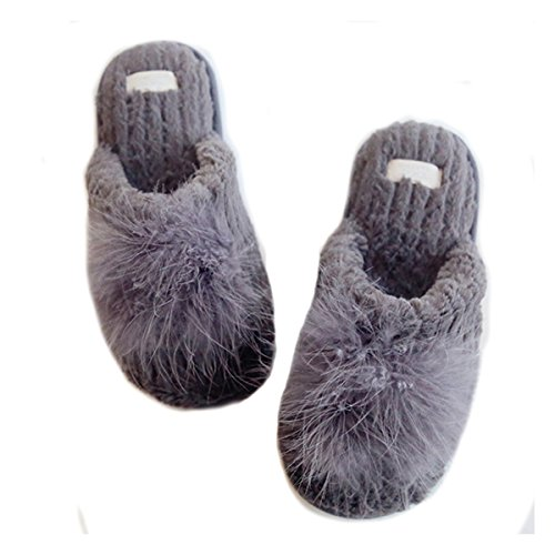 Fortuning's JDS Women Ladies Girls Velvet Super Cozy Faux Rabbit Fur House Footwear Comfy Slippers with Pompon Grey h9wwQgSXgn