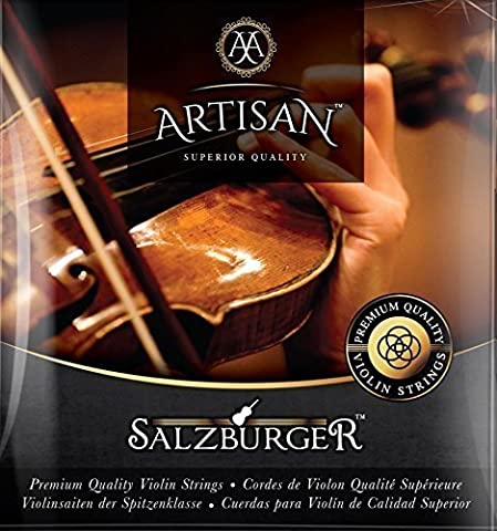 Artisan Violin Strings. Premium Quality. Fit 4 4 or 3 4 Size. 4 Steel Ball End E Strings. Warmest Tones & Unmatched (Violin Strings For 3 4)