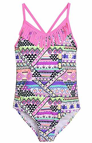 Attraco Big Girls Fringe Geometric Splice One Piece Swimsuit Swimwear Size 8