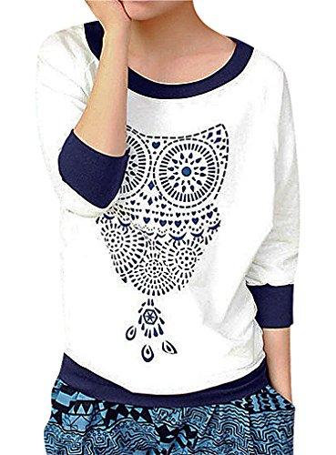 Maze, Women's Contrast Cuff Owl Print Round Wide Neck Elbow Sleeve Sweatshirt, White M ,Manufacturer(L) (Wide Collar Cropped Jacket)