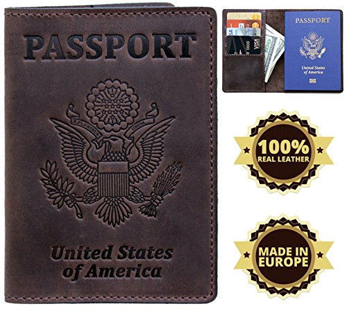 US Passport Holder Cover Travel Wallet Case - Genuine Leather ID Organizer - Card Slots - for Men Women - Travel For Men Leather Case