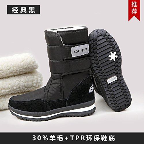 Sqiao-x-hiver Épais Fond Plat Anti-dérapant Résistant À L'eau, Bottes De Neige Chaudes Et Bottines De Neige, 35, Chaussures En Coton Noir