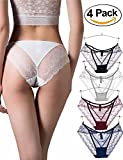 """Vivilover Women's Sexy Lingerie Underwear Lace Thong Hipster Panties (XL---Waist: 37''-39.3"""", Hips: 38.9''-41.3'', Pack of 4(Black,Red,Blue,White))"""