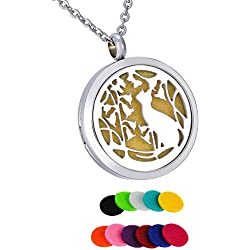 HooAMI Aromatherapy Essential Oil Diffuser Necklace - Vine Flower Cat Stainless Steel Locket Pendant,11 Refill Pads