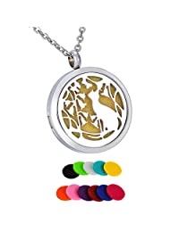 HooAMI Aromatherapy Essential Oil Diffuser Necklace - Vine Flowr Cat Stainless Steel Locket Pendant,11 Refill Pads
