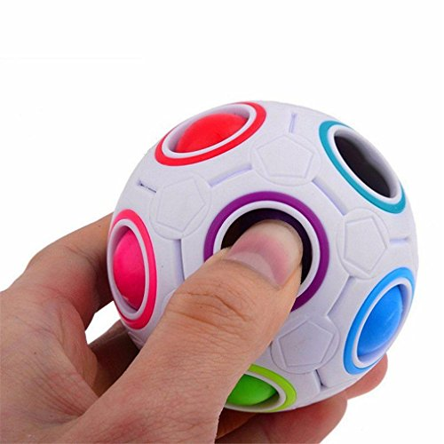 Vovotrade Stress Reliever Rainbow Magic Ball Plastic Cube Twist Puzzle Toys