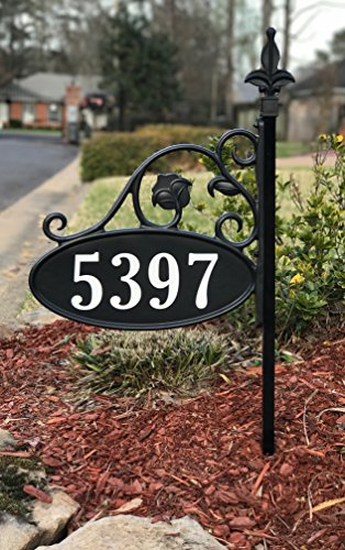 "Yard Sign Address Plaque with Highway-Grade Reflective Vinyl House Numbers Wrought Iron Look, Oval, Black, Double Sided House Plate, 911 Visibility Signage, Elegantly Handcrafted in USA, 30"" Pole"