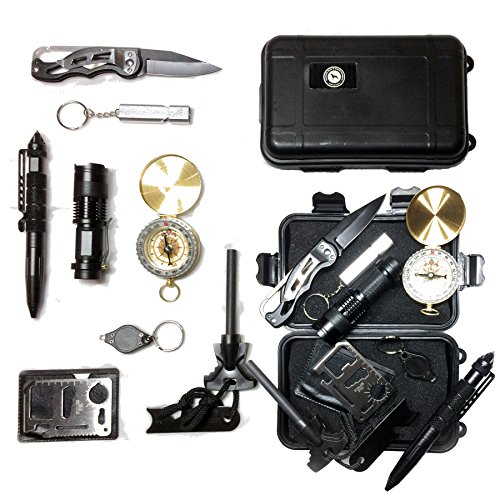 Emergency Survival Kit, Emergency Car Kit, Camping, Knife, Compass, Flint, Fire Starter, SOS, Hazard Safety, Outdoor Tools, Great for Climbing, Hiking, Biking, Driving, Fishing, Boating, Geocaching