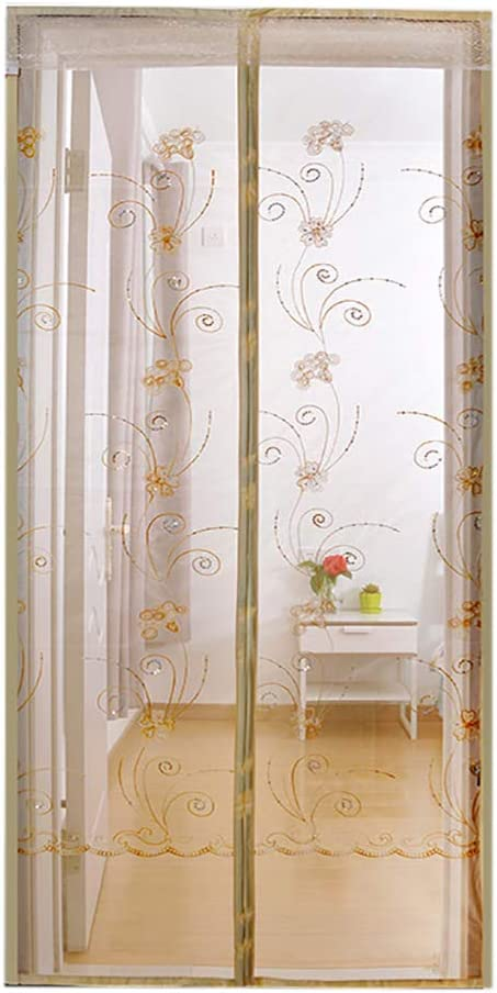 Puerta batiente con pantalla, cortina de malla retráctil en fibra de poliéster, a prueba de insectos, duradera y automática. Cortina mosquitera