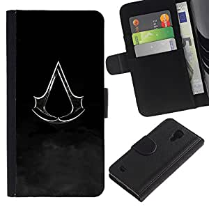KLONGSHOP // Tirón de la caja Cartera de cuero con ranuras para tarjetas - Bandera Assassin - Samsung Galaxy S4 IV I9500 //