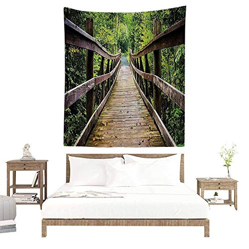 - alisoso Christmas Tapestry,Apartment Decor Collection,Rustic Wooden Walking Bridge Limberlost Trail in Shenandoah National Park Virginia View, W70 x L93 inch Towel Throw Tapestry Decor