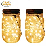 2 Pack Solar Powered Mason Jar Lights(Mason Jar and Handle Included),20 LED Bulbs Warm Light,Outdoor Garden Décor Hanging Solar Lanterns Lights with Batteries Included,Rustic Home Decor