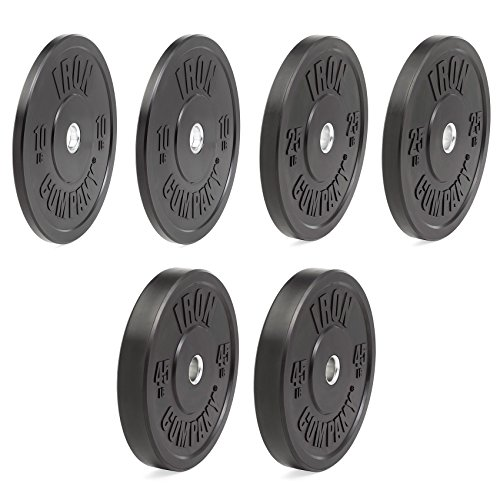 IRON COMPANY Premium Black Virgin Rubber Olympic Bumper Plate 160 lb. Set for Crossfit Workouts and Olympic Weightlifting - IWF Specifications by Ironcompany.com