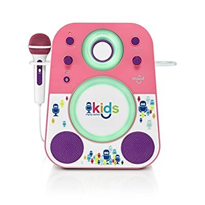 Singing Machine Kids Mood LED Glowing Bluetooth Sing-Along Speaker with Wired Youth Microphone Doubles as a Night Light, Pink/Purple, (SMK250PP): Musical Instruments