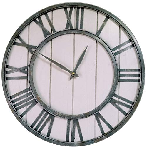 SKJIND 45cm Large Farmhouse Wall Clocks Metal Frame&Natural Wood Art Distressed Old-Fashioned Rustic Wall Decorative Clock for Living Room,Office,Cafes,Bar (white wash)