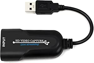 HDMI Audio Video Capture Device -Stream and Record in 1080p30 - HDMI to USB2. 0 USB Video Recorder Game Capture Card for Laptop High Definition Acquisition, Live Broadcasting