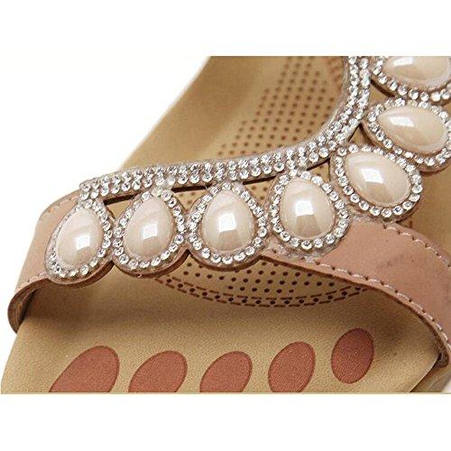 moda zapatos mujeres las Sandalias Rhinestone ocasionales verano deslizador Sandy del pie de perla cuentas de Vacation dedo de señoras del XIAOLIN de del abierto las la tamaño planos de Azul opc con Beach xXtvwO