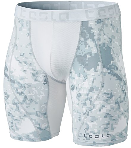 TSLA Mens Compression Shorts Baselayer Cool Dry Sports Tights, Mesh(mus77) - Pixel Camo Grey, X-Large