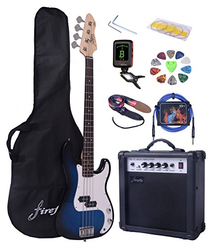 Full Size Blue Burst Electric Bass Guitar Pack with 15W power Amp Case Strap Package - Image 9