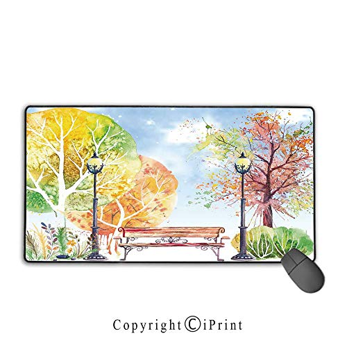 Extended Mousepad with Durable Stitched Edges,Landscape,Hand Drawn Watercolor Autumn Park Trees Shrubs Bench and Lanterns Nature Artwork,Multicolor,Premium Textured Fabric, Non-Slip Rubber Base,9.8