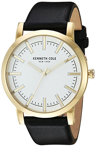 Kenneth Cole New York Men's 'Slim' Quartz Stainless Steel and Leather Dress Watch, Color:Black (Model: 10030810)