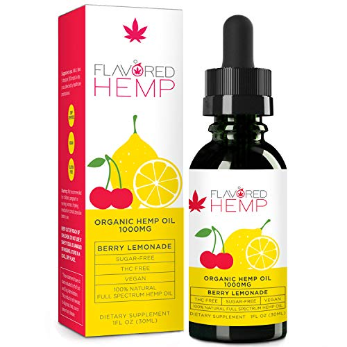 Flavored Hemp Oil - 1000 MG - Berry Lemonade Flavor - Hemp Oil for Pain Stress Anxiety Relief & Improves Overall Health - Grown & Made in The USA