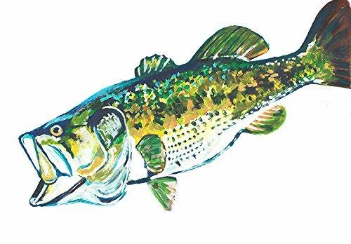 Largemouth Bass Wall Art, Fishing Decor, Bass Painting Print, Hand Signed Angling Gift By Jack Tarpon, Largemouth fishing, Bass Fishing Wall Art