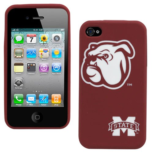 Silicone Case for iPhone 4 - Mississippi State Bulldogs - Retro Series - Cranberry - Mississippi State Iphone 4 Case
