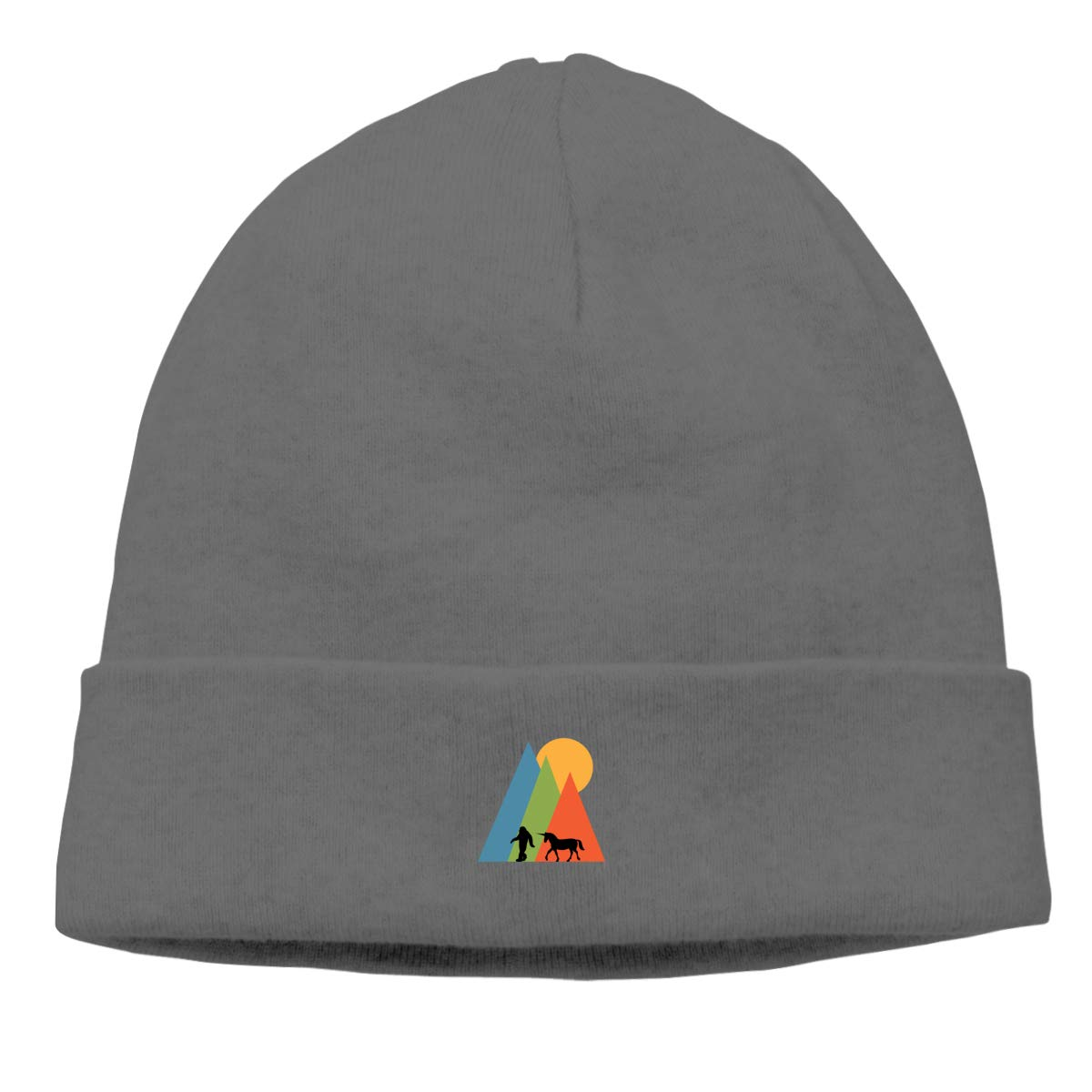 Riokk az Bigfoot Mountain Skull Hats Beanie Hat for Mens Deep Heather