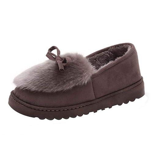 Tenthree La Moda Clásico Zapatos Planos Nudo de Arco Mocasines - Invierno Al Aire Libre Zapatillas Caliente Slippers Interior Suave Algodón Zapatilla Mujer ...