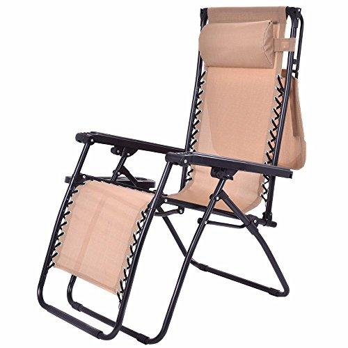 Beige Folding Recliner Zero Gravity Lounge (Modular Overstuffed Chair)