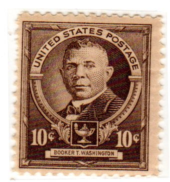 Postage Stamps United States. One Single 10c Dark Brown 1940 Booker T. Washington, Famous American Issue, American Educators Stamp #873.