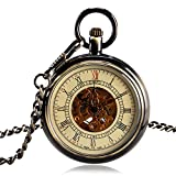 Classic Pocket Watch, Automatic Mechanical Pocket Watch for Men, Bronze Open Face Roman Numerals Pocket Watch Gift