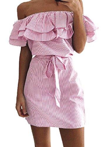 Shoulder Mini Off Striped Dress Sexy Coolred Pink Women Pencil X5qznE