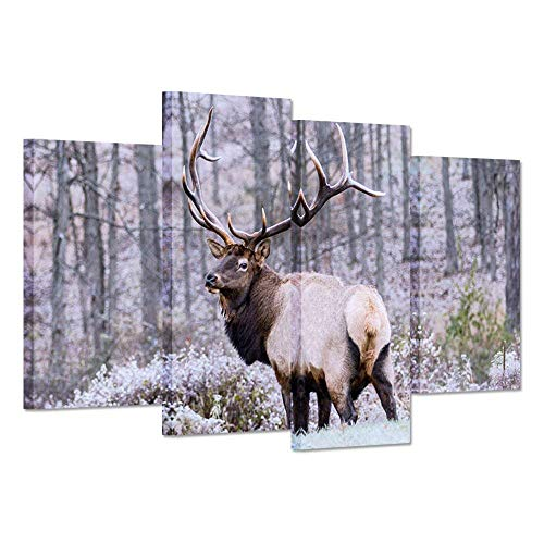 Hello Artwork- 4 Panel Canvas Print Wall Art Painting Wild Animal Deer Elk Look Back In Forest Bushes The Picture Print On Canvas Stretched And Framed For Home Decor Ready To Hang