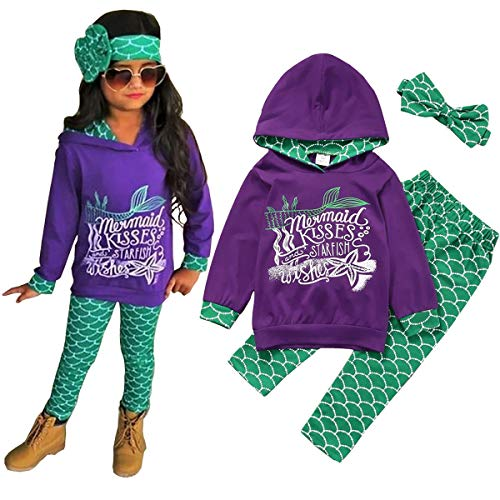 Birthday Sweatshirt Kids (Mermaid Toddler Little Girls Outfit Set, T-Shirt/Hoodie Tops Pants with Headband Outfit Clothing Sets (3-4 Years, Hoodie Purple))
