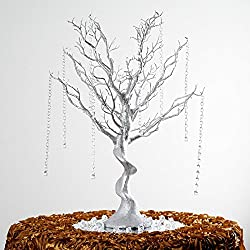 "Efavormart 30"" Glittered Manzanita Centerpiece Tree for Wedding Banquet Birthday Party Event Tabletop Decorations- Silver"
