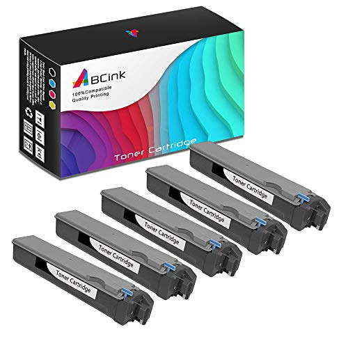 ABCink Compatible Toner Cartridge Replacements for Kyocera TK-512K,for use in Kyocera FS-C5020N, FS-C5025N, FS-C5030N,8000 Yields(5 Pack,Black)