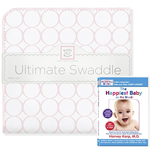 SwaddleDesigns Ultimate Swaddle, X-Large Receiving Blanket + The Happiest Baby DVD Bundle, Pastel Pink Mod Circles (Mom's Choice Award -