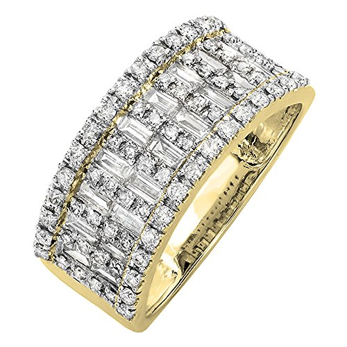 (Dazzlingrock Collection 0.98 Carat (ctw) 14K Round & Baguette Cut Diamond Ladies Wedding Band 1 CT, Yellow Gold, Size)