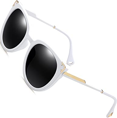 f20927c399f5c SIPLION Women s Fashion Retro Wayfarer Sunglasses For Women 100% Polarized  UV Protection 7605 White